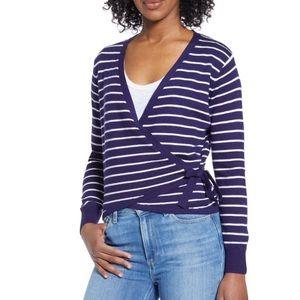 CENY $54 Stripe Wrap Sweater Nordstrom